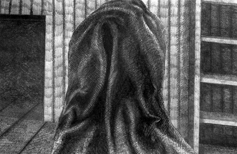 Pencil drawn image of a cloaked figure on a ship taken from the visual narrative the Limerickee