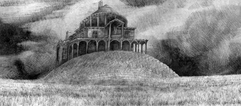 Pencil drawn image of a mansion valley taken from the visual narrative the Limerickee