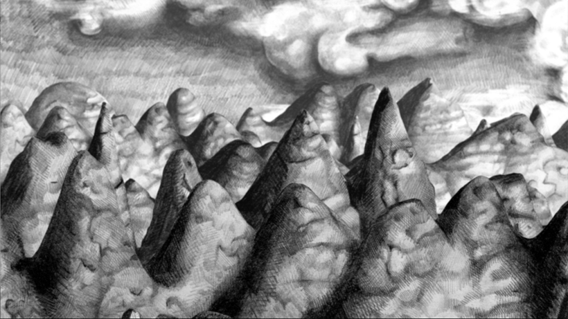 screen shot from Foodstuffs of pencil drawn mountains and clouds